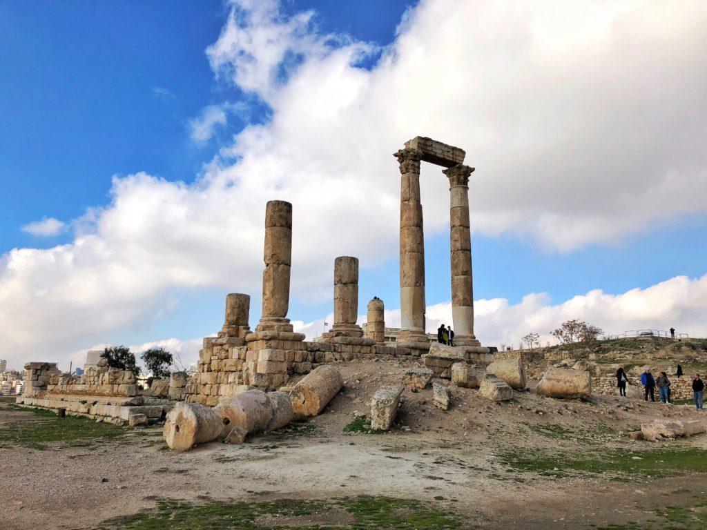 Ruins of a temple in the Citadel of Amman in Jordan