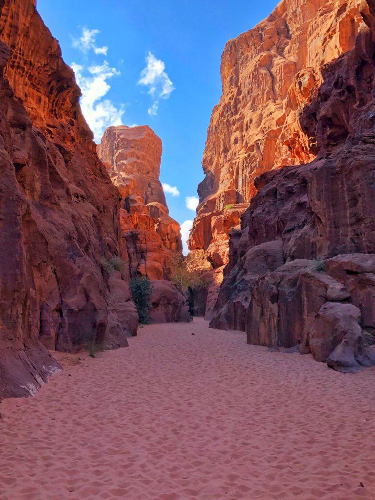 Rocky Mountains in the desert with a blue sky in Wadi Rum desert in Jordan