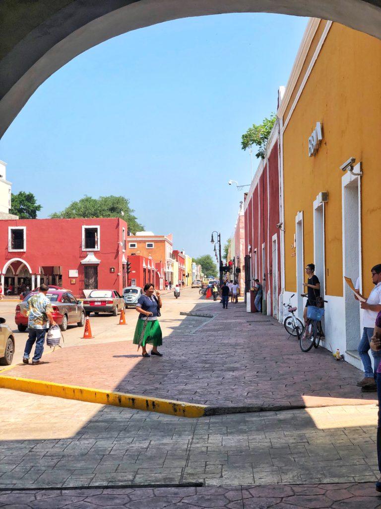 coloured buildings in Valladolid Mexico
