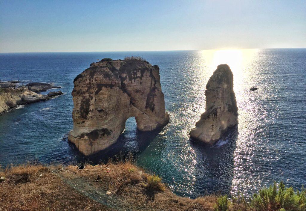 Raouche Big rocks on the sea in Beyrouth Lebanon