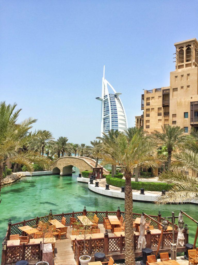 View of Burj Al Arab from the souk Madinat Jumeirah in Dubai