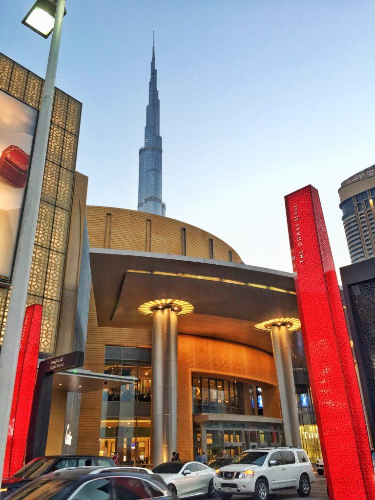 Dubai Mall from the outside with the Burj Khalifa in Dubai