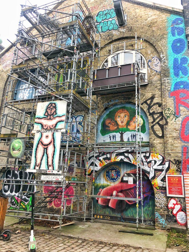 Graffitis on a building in Christiania in Copenhagen Denmark