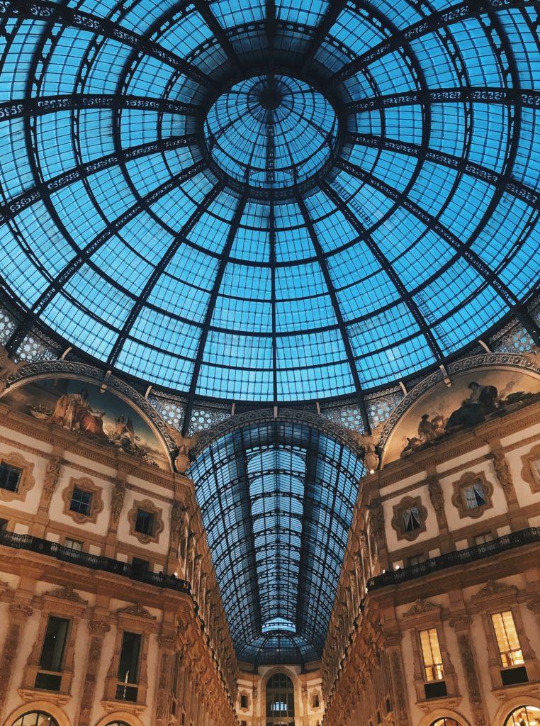 Inside of the Galleria Vittorio Emmanuele II near the Duomo in Milano Italy
